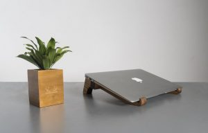 laptop stand in pine wood