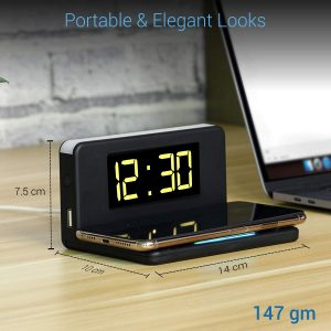 UNIVERSAL DEVICE CHARGER: Supports all Android & iOS wired & wireless charging with alarm clock